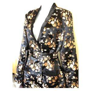 Vintage,embroidered-floral print blazer/mini dress